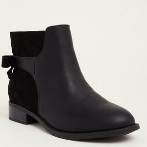Torrid Mixed Fabric Bow Back Booties Wide Width